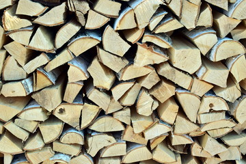 Pile of birch firewood