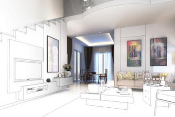Modern furnishing concept (drawing)