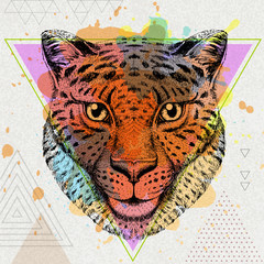 Hipster animal cheetah on artistic polygon watercolor background
