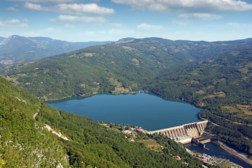 hydroelectric power plant Perucac on Drina river landscape summer season