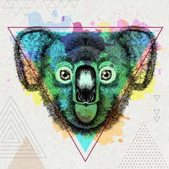 Hipster animal koala on artistic polygon watercolor background