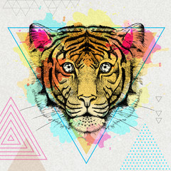 Hipster animal tiger on artistic polygon watercolor background