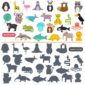 Funny animals color flat and simple icons set