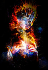 girl with shamanic feather mask playing on wooden ornamental flute in cosmic space.