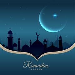 beautiful night scene with mosque, moon and stars for ramadan kareem