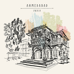 Jain temple in Ahmedabad, Gujarat, India. Travel vntage hand drawn postcard