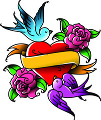 A heart and flower tattoo with a flower. Tattoo in the style of the American old school. Vector flat tattoo. The illustration is isolated on a white background. Tattoo for the inscription loved. St. V