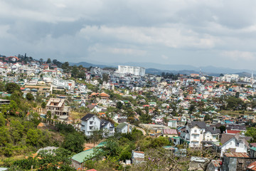 Dalat city, Vietnam, View of many houses from hill, The architecture of Dalat, Cityscape