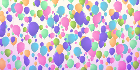 Background of densely flying balloons