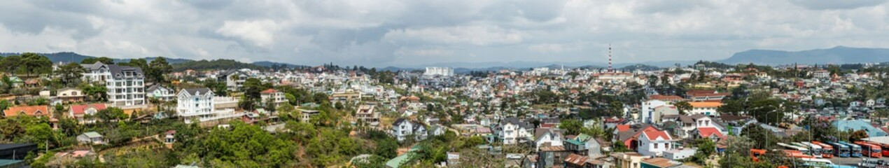 Dalat city, Vietnam, View of many houses from hill, The architecture of Dalat, Cityscape, Panorama