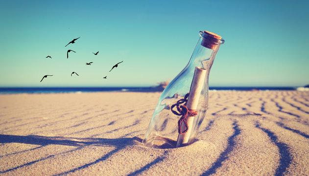 magische Flaschenpost im Sand