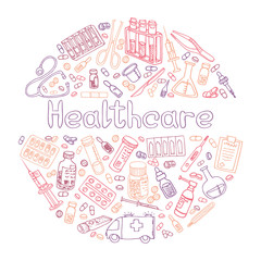 Healthcare hand drawn doodles vector illustration