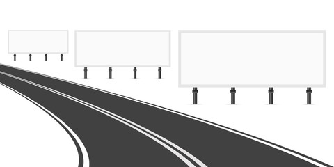 Three Billboards Along the Road. Three Empty White Blank Billboards for Advertising. Bend Road with Markings. Vector Art