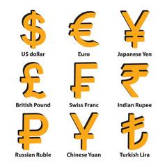 Currencies 3d symbol icons set. Vector.