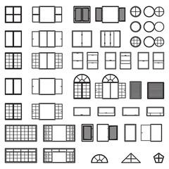 Windows icon set. . Window types set. Vector.
