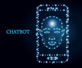 Chatbot, mobile app, blue 1