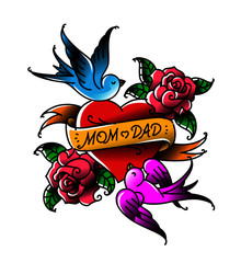 Tattoos with the inscription of Mom and Dad. Two hearts with a flower and a bird. Vector flat tattoo. Congratulation for parents with an anniversary. A tattoo for loving parents. Tattoos in the old st