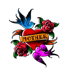 A tattoo with the inscription of Mom. A heart and flower tattoo with a flower. Tattoo in the style of the American old school. Vector flat tattoo. The illustration is isolated on a white background.