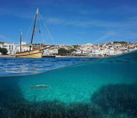 A traditional boat and the village of Cadaques with fish and seagrass underwater, split view above and below water surface, Mediterranean sea, Costa Brava, Spain