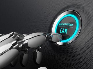 Robotic hand, presses the start button of the autonomous car. 3D illustration.