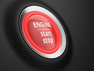 Start button of engine on car dashboard. Stop-start system. 3D illustration.