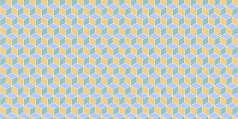 Yellow Sky Blue Seamless Cube Pattern Background. Isometric Blocks Texture. Geometric 3d Mosaic Backdrop.