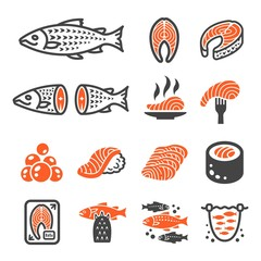 salmon icon set