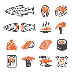 salmon icon set