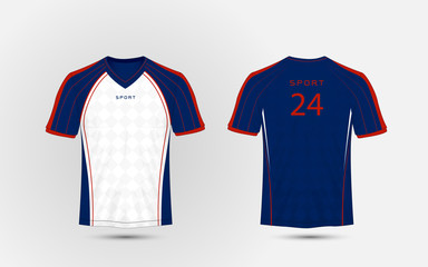 Blue, white and red lines layout football sport t-shirt, kits, jersey, shirt  design template