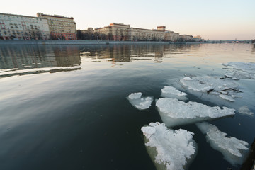 Drifting floes on the Moscow river, spring is coming