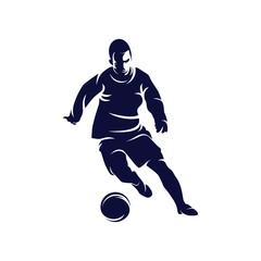 Dribbling ball logo Silhouette vector, Soccer and Football Player logo designs