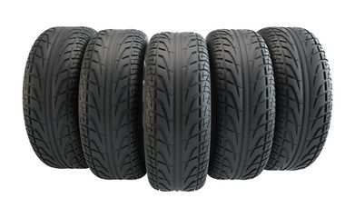 Car tires in row, isolated