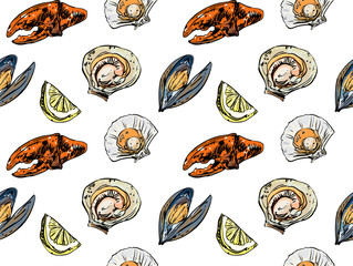 Mussels and oysters pattern on white background.