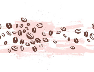 Vector seamless coffee backdrop design with hand drawn coffee beans isolated on white background. Ink drawing, coffee seeds. Packaging design, wallpaper, banner etc.