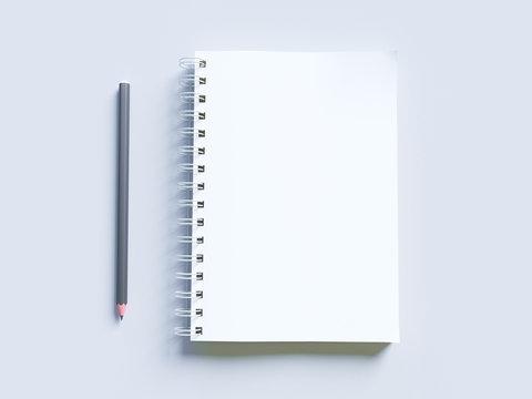 Empty photorealistic mock-up notebook on a light gray background, 3d illustration.