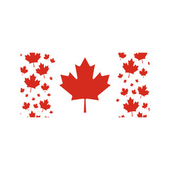 Vector Canada flag with maple leaves borders.