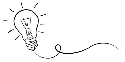 Hand-drawn lightbulb sketch