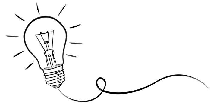 Hand-drawn lightbulb sketch
