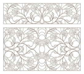 Set of contour stained glass illustrations with abstract symmetrical  flowers, dark contours on white background, horizontal orientation