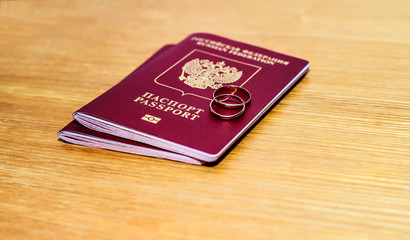 Russian passports and two rings, wedding