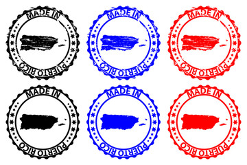 Made in Puerto Rico - rubber stamp - vector, Puerto Rico map pattern - black, blue and red