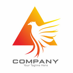 Eagle and Triangle Logo Vector Template