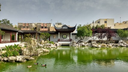 lake inside chinese garden of serenity in Malta