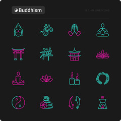 Buddhism thin line icons set: yoga, meditation, Buddha, Yin-Yang, candles, Aum letter, aromatherapy, pagoda, temple. Modern vector illustration for black theme.