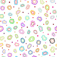 Colorful seamless pattern with abstract shapes drawn by hand. Bright endless print for children. Sketch, doodle.