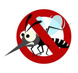 mosquito prohibited warning sign isolated on white background.