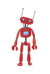 Cute humanoid robot, android with artificial intelligence. Cartoon vector illustration, isolated on white background.