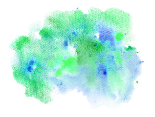 Blue and green watery illustration. Abstract watercolor hand drawn image.Wet splash.White background.