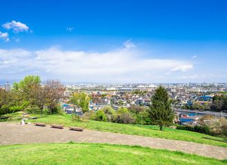新緑の丘と住宅街