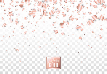 Rose gold paper confetti isolated on checkered transparent background. Festive vector illustration. Layered